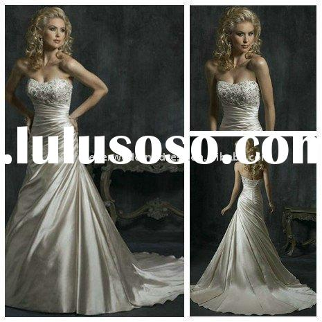 Champagne Satin Cheap Lace Top Wedding Dresses Bridal