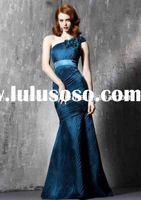 Chiffon blue one shoulder women prom gown/evening gown