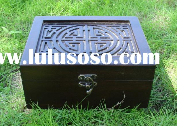 Chinese antique wooden carving jewelry box