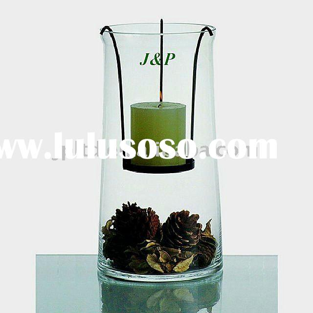 Clear glass hurricane candle holder w/ metal tray/glassware