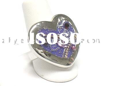 Crystal and glass art deco heart ring - adjustable