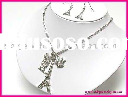 Crystal paris eifel tower charm dangle long necklace and earring set