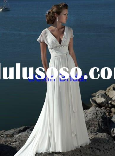 Custom Made A-line chiffon short sleeve Free Shipping Evening Dress&Evening gown
