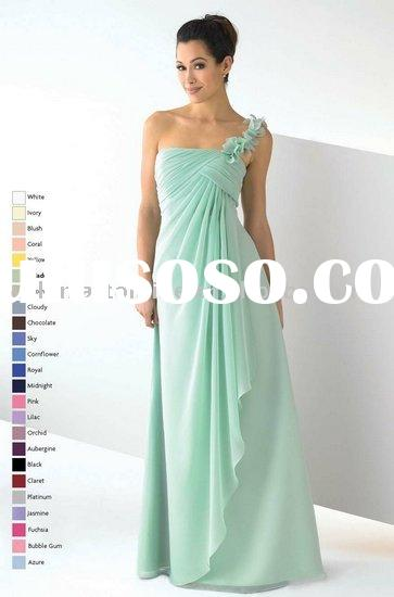 ED751 Ruffled One Shoulder Long Chiffon Bridesmaid Dress