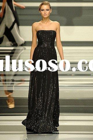 ES890 2011 Latest fashion floor length strapless black sequins lace evening dress