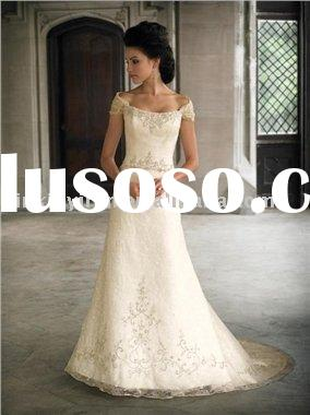 Elegant A-line Short Sleeves Lace Beading Bridal Gown