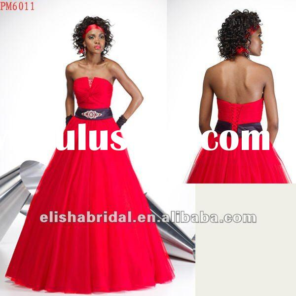 Elegant Strapless Ball Gown Red And Black Tulle Prom Dresses Made In China