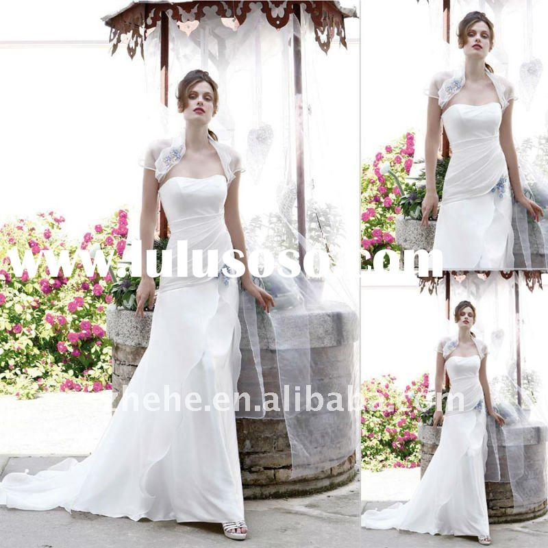 Elegant slim line scoop neckline beach wedding dress with jacket