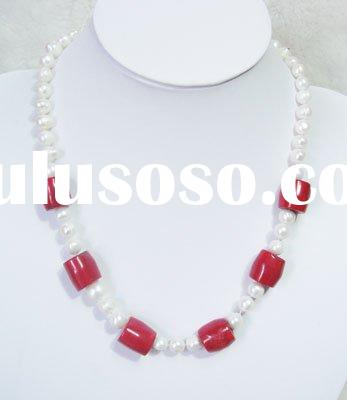 Elegent AAA Top Nature Red Coral Beads Necklace Set
