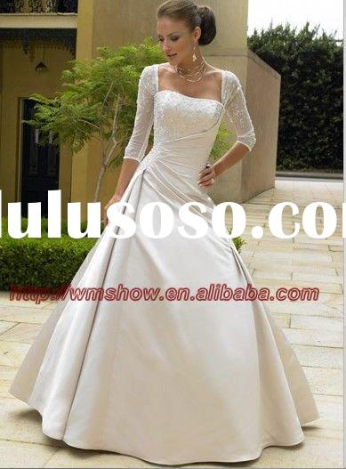 Embroidered Satin 2011 Long Sleeve Wedding Dresses