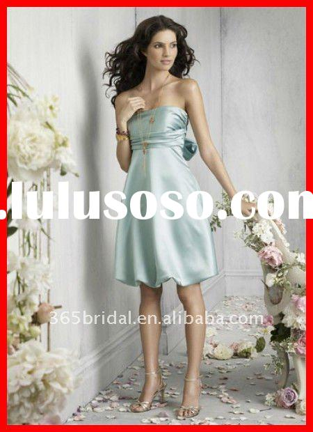 Emerald A Line Strapless Satin Bridal Bridesmaid Dresses 2012