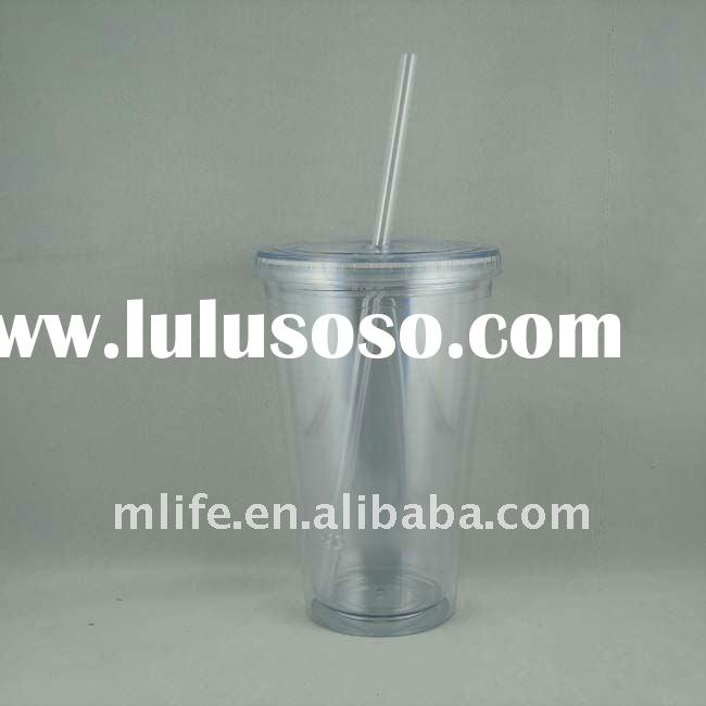 FDA approved food grade double wall plastic coffee cup with straw