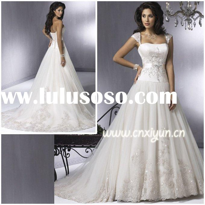 Factory Sell High Quality Tulle Appliqued Beaded Stunning Cap Sleeve Wedding Dresses