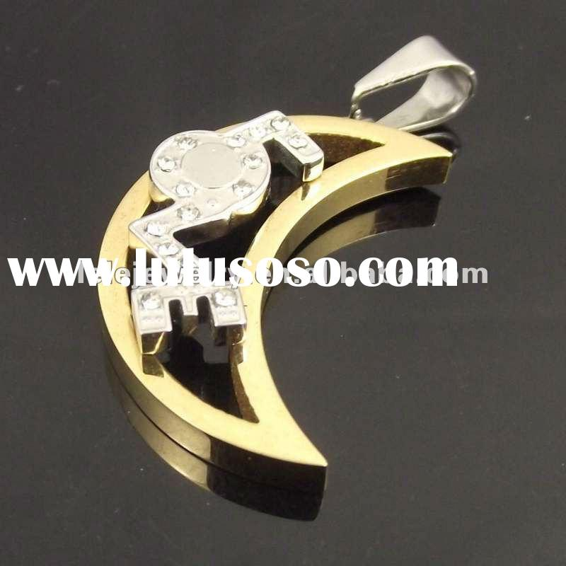 Fashion Golden Stainless Steel Jewelry With Moon And Star Pendant