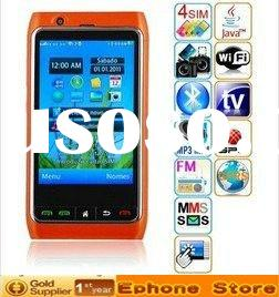"Free shipping //4 sim/standby dual TV wifi GPS 3.5"" screen Unlocked mobile phone FN8"