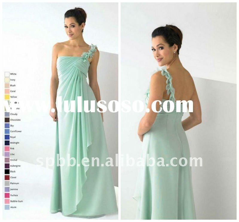 Free shipping MD-014 one shpoulder blue floor-length mother of the bride dress