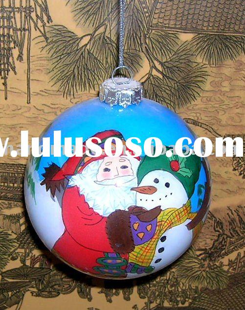 Free shipping santa & snow man hand-painted glass christmas ball