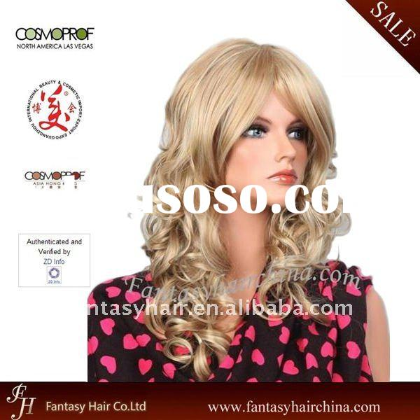 French Curl 100% Synthetic Long Hair Fashion Wigs for white women
