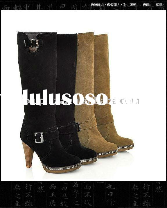 Genuine Leather Suede Boots Black/Brown High Heel Woman Shoes US4/4.5/5/6/7/7.5/8/9/10