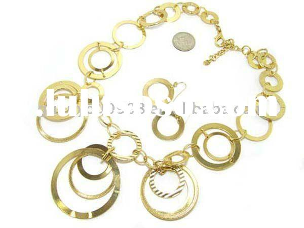 Gold Plated Metal Circle Fashion Costumer Necklace Earring Set