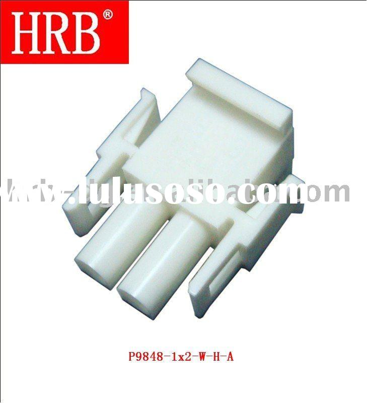 HRB 6.35mm pitch single row 2 pin electronic cable male connector with holed wings