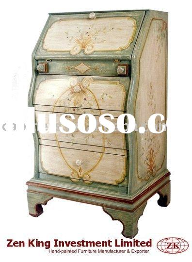 Hand Painted Country Style Wooden Secretary Desk