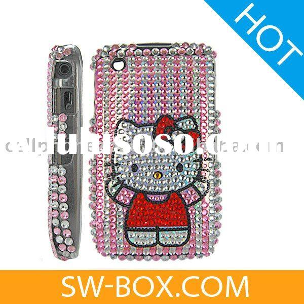Hello Kitty Diamond Rhinestone Bling Hard Case Cover For BlackBerry Curve 8520 8530 - Pink / Sliver