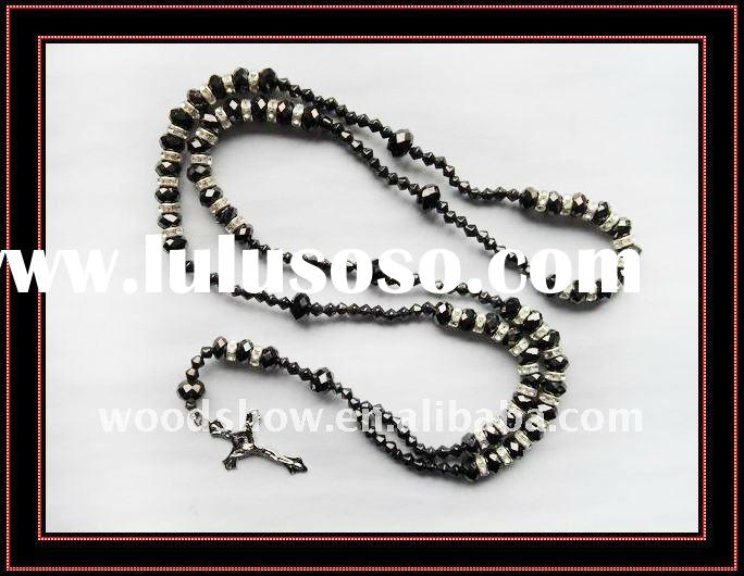 Hot !Hematite crystal beads cross rosary necklace with rhinestone circle