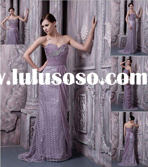 Hot! Real Sample Chiffon Long Train Purple Sheath Beaded Ruffle Gown Evening Dress Bridesmaid Gowns