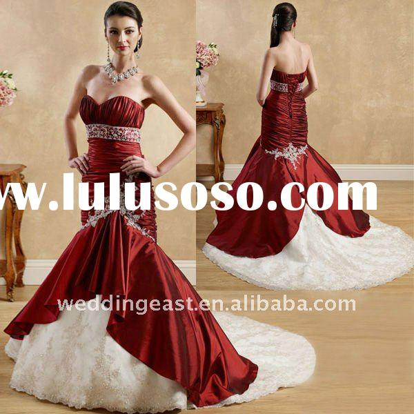 Hot Sale Classical Vintage Red and White embroidery Bridal Gown CGWD-0766,0767