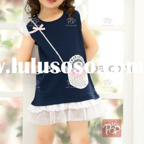 Hot Sell !! Girl navy dress white lace beautiful print skirt 2011 summer fashion style