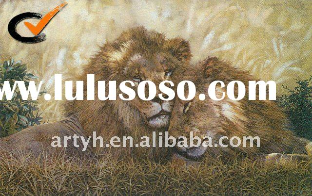 Hot Sell Handmade Modern Decorative Canvas African Animal Oil Painting