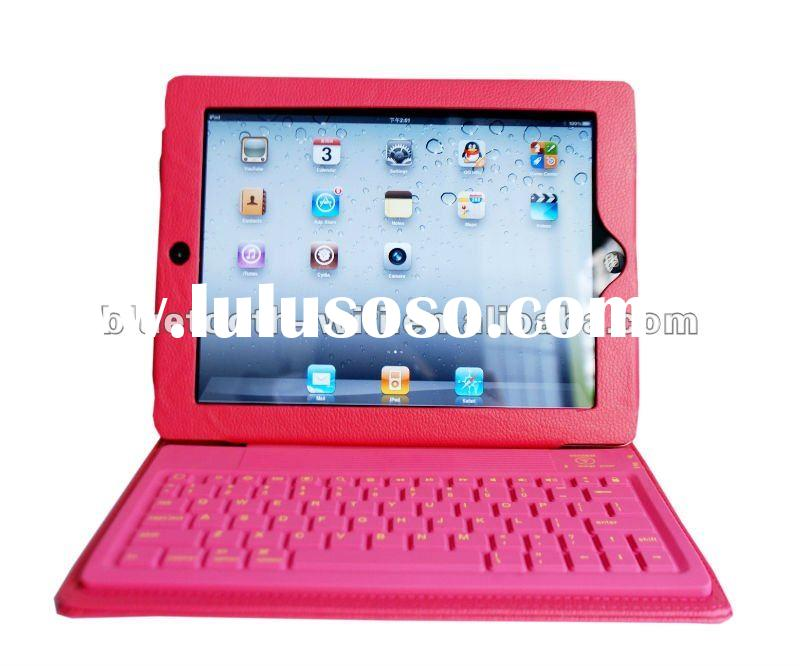 Hot! pink leather case bluetooth keyboard for ipad 2