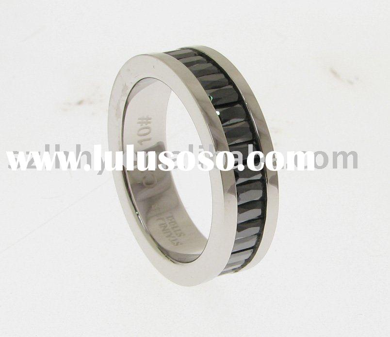 Hot saling fashion 316L Stainless Steel black or white zircons Ring