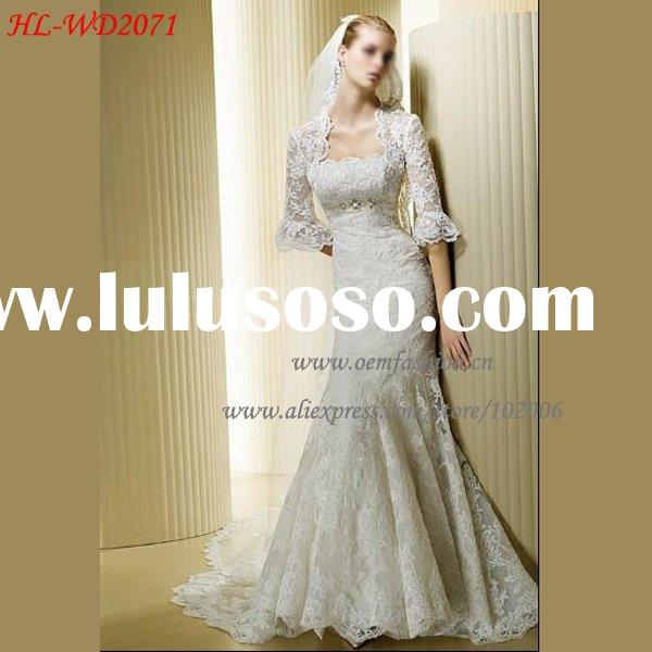 Hotsale Long Sleeve Mermaid Lace Bridal Wedding Dress HL-WD2071