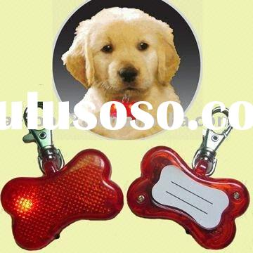 LED Pet Tag, Flashing Pet Tag, Bone-shaped Flashing Pet Tag