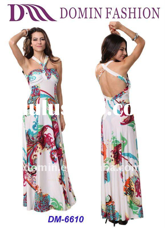 Ladies' Floral Print Halter Maxi Dress for Summer 2012