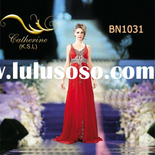 Latest Red Appliqued Evening Dress Fashion 2012 BN1031