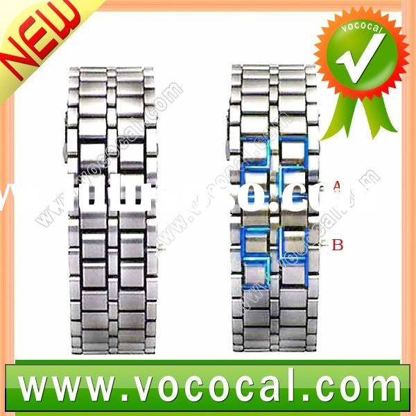 Lava Style Iron Samurai Metal Faceless Blue LED Digital Watch