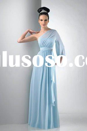 Light blue One shoulder long sleeve evening dress sash