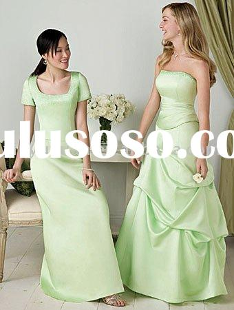 Light green! short sleeve custom-made wholesale floor-length bridesmaid dress AAB-096