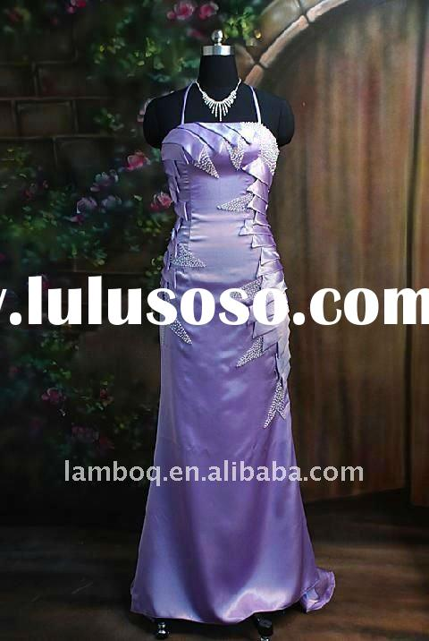 Lilac Satin Beaded Full Length Evening Dress With Brush Train And Spaghetti Straps