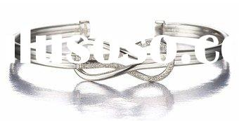 love knot diamond cuff bangle bracelet in sterling silver love knot