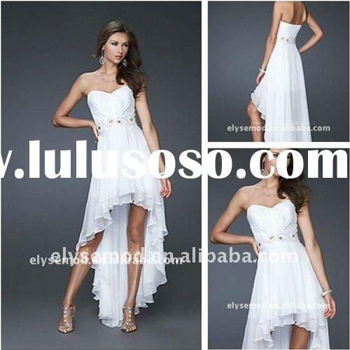 Lovely Sweetheart Beaded White Chiffon Front Short and Long Back Dress