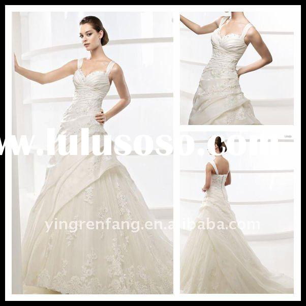 Made In China Affordable Spaghetti Strap Fairy Pink And White Wedding Dresses Satin A-Line Ruffle Sw