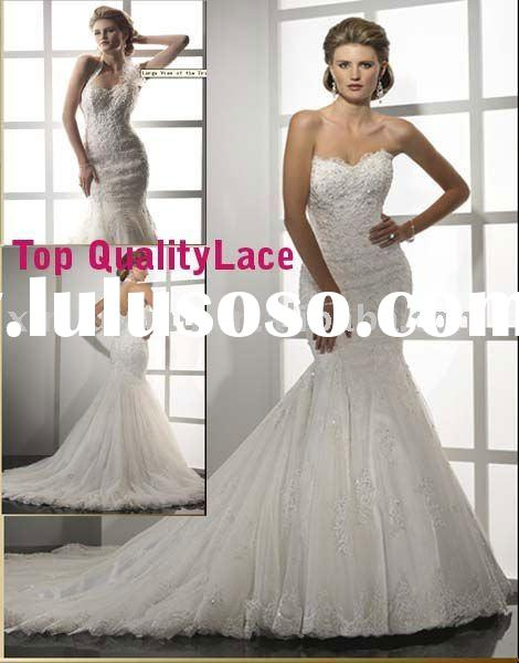 Maggie best hot sell Ivory Strapless Sweetheart Neck Lace Mermaid Wedding Dress MA-873