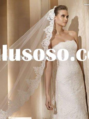 Mermaid/Trumpet Strapless Chapel Train Satin Lace Wedding Dress