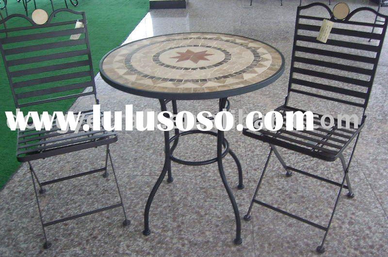 Modern Leisure Patio Furniture Small Round Marble Table Chair Sets