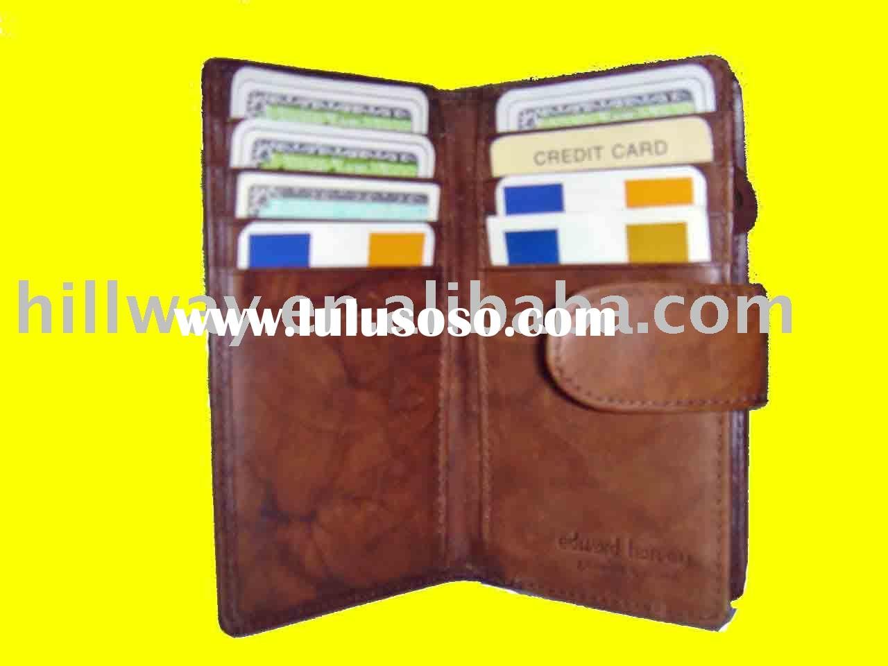 NEW BROWN GENUINE COWHIDE LEATHER WALLET CREDIT CARD HOLDER CASE ZIPPER PURSE POUCH WITH TAP