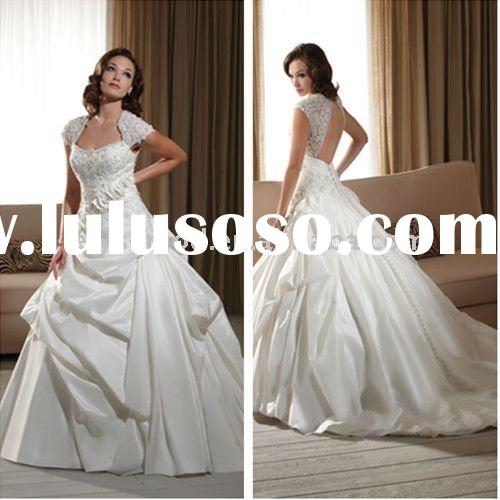 New Arrival Taffeta and Lace Queen Anne Neckline Open Cap Sleeves Backless Bridal Wedding Dresses